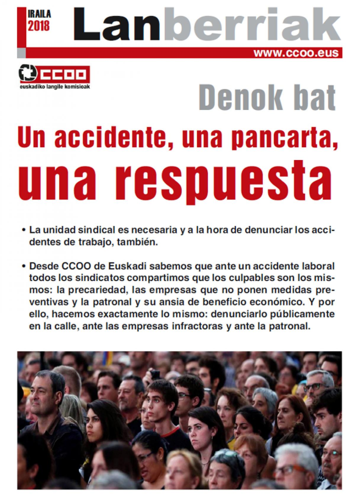 "Lan berriak Salud Laboral ""Un accidente, una pancarta, una respuesta"""